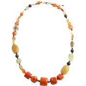 Art Smith by BARSE Orange Mixed Media Necklace