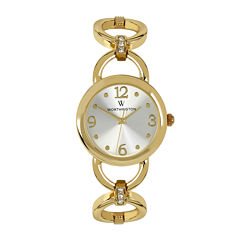 Worthington® Womens Gold-Tone Link Bracelet Watch