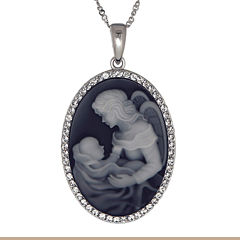 Crystal Accent Black Angel Mom & Baby Sterling Silver Cameo Pendant
