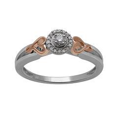Hallmark Diamonds 1/10 CT. T.W. Diamond Sterling Silver with 14K Rose Gold Ring