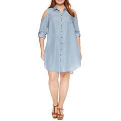 Sharagano 3/4 Sleeve Cold Shoulder Shirt Dress-Plus