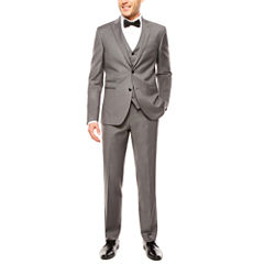 JF J. Ferrar Stretch Gray Sharkskin Suit Separates-Slim