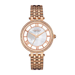 Caravelle New York® Womens Crystal-Accent Rose-Tone Bracelet Watch 44L171
