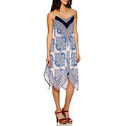 Luxology Sleeveless Print Hanky Hem Maxi Dress