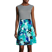 Studio 1® Sleeveless Stripe and Floral Fit-and-Flare Dress