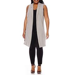 Boutique+ Long Vest, Essential V-Neck Cami or Cropped Legging - Plus