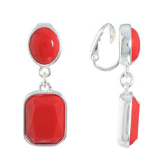 Liz Claiborne Red Clip On Earrings