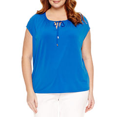 Liz Claiborne Cap Sleeve Tie Front T-Shirt-Plus