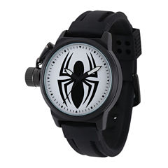 Marvel® Black Spider Mens Black Silicone Strap Crown Protector Watch