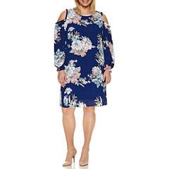 Danillo Long Sleeve Cold Shoulder Sheath Dress-Plus