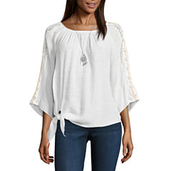 Alyx 3/4 Sleeve Round Neck Gauze Blouse