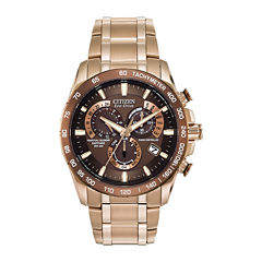 Citizen® Eco-Drive® Perpetual Chrono A-T Mens Rose-Tone Chronograph Watch AT4106-52X