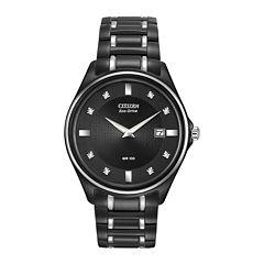 Citizen® Eco-Drive® Mens Diamond-Accent Black Stainless Steel Watch AU1054-54G