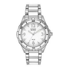Citizen® Eco-Drive® Womens Diamond-Accent White Boyfriend Watch EM0030-59A