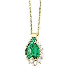 Lab-Created Emerald and White Sapphire Pendant Necklace