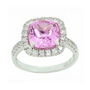 Lab-Created Pink & White Sapphire Sterling Silver Ring