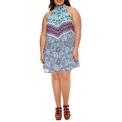 Decree Halter Dress with Neck Detail - Juniors Plus