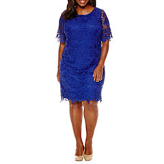 R & K Originals Elbow Sleeve Lace Sheath Dress-Plus