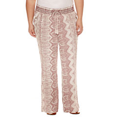 Rewash Print Linen Pants - Juniors Plus