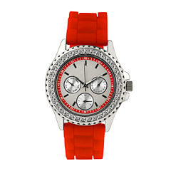 Womens Crystal Accent Red Silicone Bracelet Watch