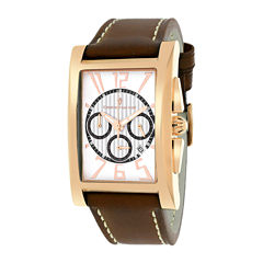 Christian Van Sant Mens Cannes Rectangular White & Brown Leather Strap Watch