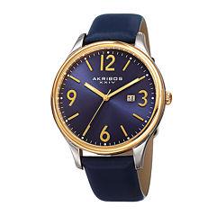 Akribos XXIV Mens Blue Leather Strap Watch