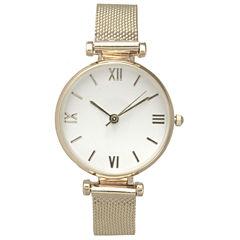 Olivia Pratt Mesh Womens Gold Tone Strap Watch-16245