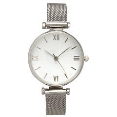 Olivia Pratt Mesh Womens Silver Tone Strap Watch-16245