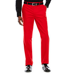 Men's JF Stretch Red Cotton Flat-Front Straight-Leg Slim-Fit Pants