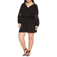 Boutique +  Lace Back Romper-Plus