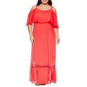 Boutique + Short Sleeve Maxi Dress-Plus