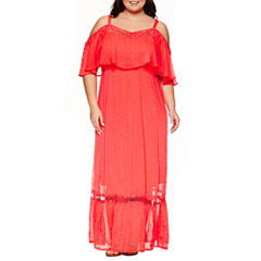 Ashley Nell Tipton for Boutique + Cold Shoulder Maxi Dress-Plus