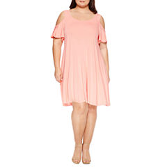 City Streets Short Sleeve Swing Dresses-Plus