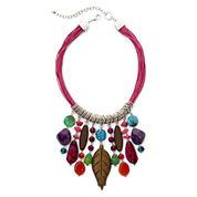 Aris by Treska Multicolor Stone Cord Bib Necklace