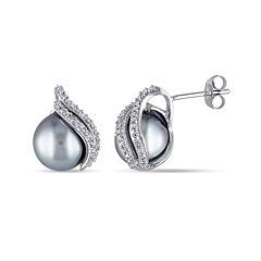 1/6 CT. T.W. Diamond and Genuine Platinum Tahitian Pearl Earrings