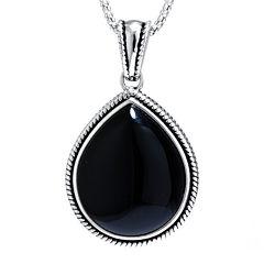 Genuine Black Onyx Sterling Silver Teardrop Pendant Necklace