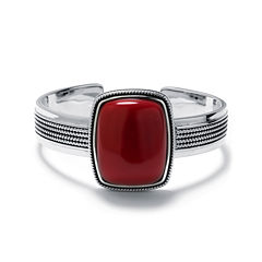 Simulated Red Jasper Sterling Silver Rectangular Cuff Bracelet