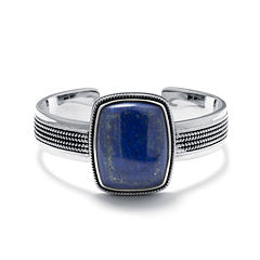 Dyed Blue Lapis Sterling Silver Rectangular Cuff Bracelet