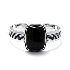 Genuine Black Onyx Sterling Silver Rectangular Cuff Bracelet