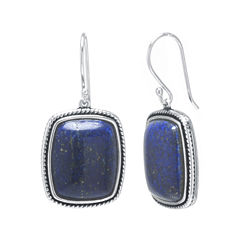 Dyed Blue Lapis Sterling Silver Rectangular Drop Earrings