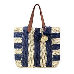 Olivia Miller Pippy Multi Striped Straw Tote Bag