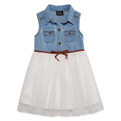 Lilt Short SleevelessDenim Tutu Dress - Toddler Girls