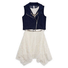 Knit Works Belted Lace Dress w/Moto Vest & Necklace - Girls' 7-16