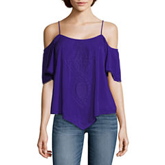 a.n.a Short Sleeve Scoop Neck Woven Blouse