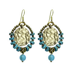 Aris by Treska Blue and Gold-Tone Coin Hoop Earrings