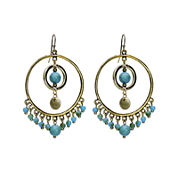 Aris by Treska Blue and Gold-Tone Beaded Hoop Earrings