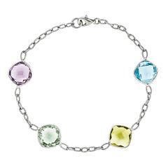 Genuine Multi Gemstone Sterling Silver Bracelet