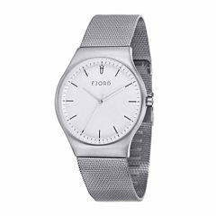 Fjord Mesh Band Mens Silver Tone Expansion Watch-Fj-3026-22