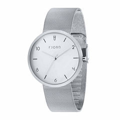 Fjord Mesh Band Mens Silver Tone Expansion Watch-Fj-3027-22