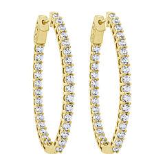 3 CT. T.W. White Diamond 10K Gold Hoop Earrings
